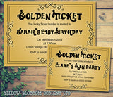 Adult Birthday Invitations Female Male Unisex Joint Party Her Him For Her - Funky Golden Ticket ~ QUANTITY DISCOUNT AVAILABLE - YellowBlossomDesignsLtd