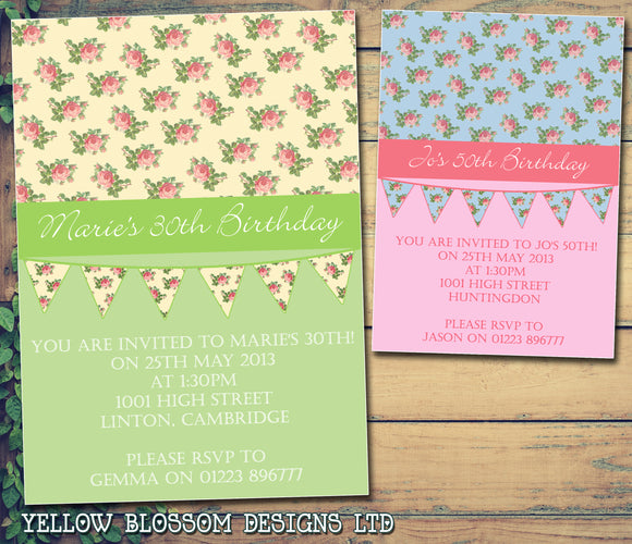 Adult Birthday Invitations Female Male Unisex Joint Party Her Him For Her - Flower Bunting Vintage ~ QUANTITY DISCOUNT AVAILABLE