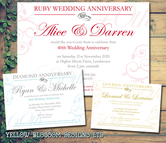 Anniversary Invitations Gold Silver Diamond Ruby 40th 50th 60th Wedding Party Personalised Bespoke ~ QUANTITY DISCOUNT AVAILABLE - YellowBlossomDesignsLtd