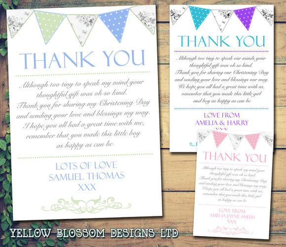 Shabby Chic Carnival Joint Boy Girl Twins Photo Personalised Thank You Cards Christening Baptism Naming Day Party Celebrations ~ QUANTITY DISCOUNT AVAILABLE
