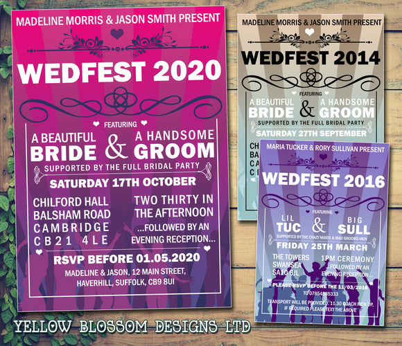 Wedfest Party Pink Purple Orange Yellow Festival Wedding Day Evening Invitations Personalised Bespoke