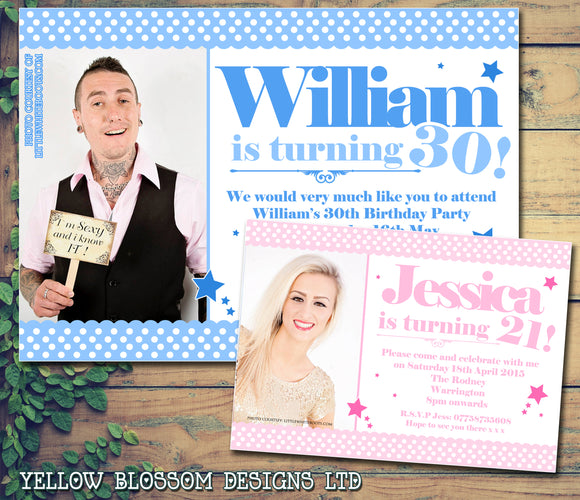 Adult Birthday Invitations Female Male Unisex Joint Party 18th 21st 30th 40th 50th 60th Photo Print ~ QUANTITY DISCOUNT AVAILABLE