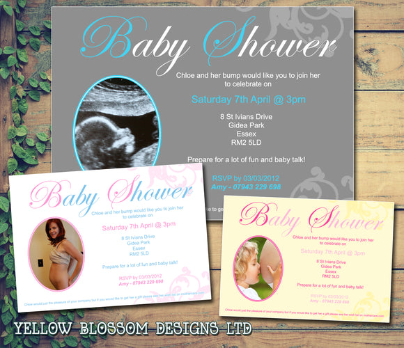 Baby Shower Invitations Boy Girl Unisex Twins Joint Party - Photo Print Cards ~ QUANTITY DISCOUNT AVAILABLE - YellowBlossomDesignsLtd