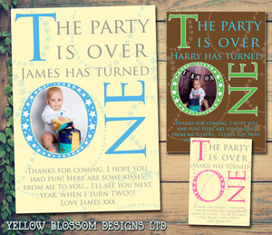 The Party Is Over Turned ONE Photo Personalised Birthday Thank You Cards Printed Kids Child Boys Girls Adult ~ QUANTITY DISCOUNT AVAILABLE