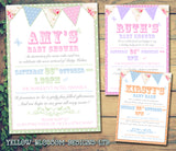 Baby Shower Invitations Boy Girl Unisex Twins Joint Party - Polka Dot Border Carnival ~ QUANTITY DISCOUNT AVAILABLE - YellowBlossomDesignsLtd