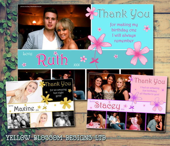 Hen Night Flowers Personalised Birthday Thank You Cards Printed Kids Child Boys Girls Adult ~ QUANTITY DISCOUNT AVAILABLE