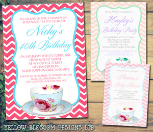 Adult Birthday Invitations Female Male Unisex Joint Party Her Him For Her - Afternoon Tea Party Cup ~ QUANTITY DISCOUNT AVAILABLE