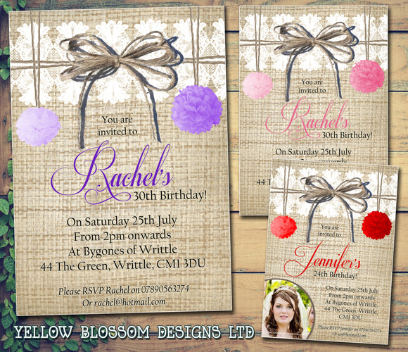 Adult Birthday Invitations Female Male Unisex Joint Party Her Him For Her - Rustic Hessian Pom Poms White Lace ~ QUANTITY DISCOUNT AVAILABLE