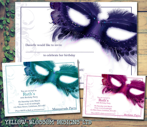 Adult Birthday Invitations Female Male Unisex Joint Party Her Him For Her - Masquerade Ball ~ QUANTITY DISCOUNT AVAILABLE - YellowBlossomDesignsLtd