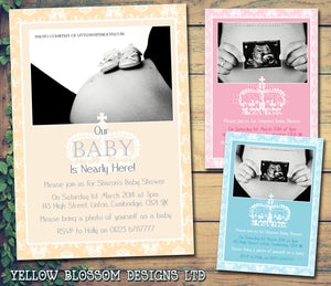 Baby Shower Invitations Boy Girl Unisex Twins Joint Party - Princes Princess ~ QUANTITY DISCOUNT AVAILABLE - YellowBlossomDesignsLtd
