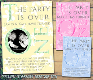 The Party Is Over ONE 1st Photo Personalised Birthday Thank You Cards Printed Kids Child Boys Girls Adult ~ QUANTITY DISCOUNT AVAILABLE