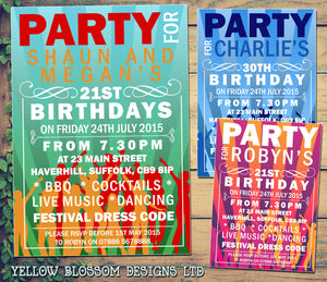 Adult Birthday Invitations Female Male Unisex Joint Party 18th 21st 30th 40th 50th 60th PartyFest Festival ~ QUANTITY DISCOUNT AVAILABLE