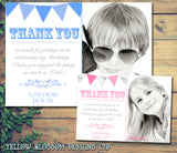 Funky Boy Girl Bunting Pink Blue Personalised Birthday Thank You Cards Printed Kids Child Boys Girls Adult ~ QUANTITY DISCOUNT AVAILABLE