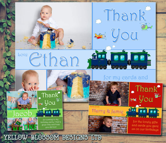Trains & Planes 3 Photos Personalised Birthday Thank You Cards Printed Kids Child Boys Girls Adult ~ QUANTITY DISCOUNT AVAILABLE