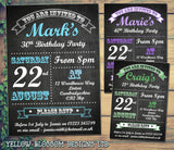 Birthday Invitations Female Male Unisex Joint Party 18th 21st 30th 40th 50th 60th Chalkboard Poster ~ QUANTITY DISCOUNT AVAILABLE
