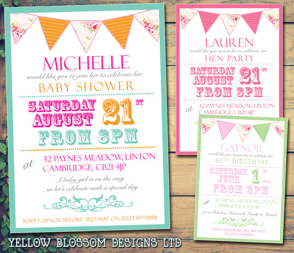 Adult Birthday Invitations Female Male Unisex Joint Party Her Him For Her - Carnival Bunting Colourful ~ QUANTITY DISCOUNT AVAILABLE - YellowBlossomDesignsLtd