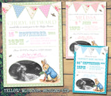 Baby Shower Invitations Boy Girl Unisex Twins Joint Party - Peter Rabbit Bunting Chic ~ QUANTITY DISCOUNT AVAILABLE