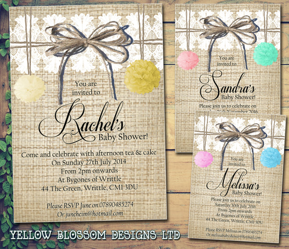 Baby Shower Invitations Boy Girl Unisex Twins Joint Party - Rustic Lace Twine Pom Poms ~ QUANTITY DISCOUNT AVAILABLE - YellowBlossomDesignsLtd
