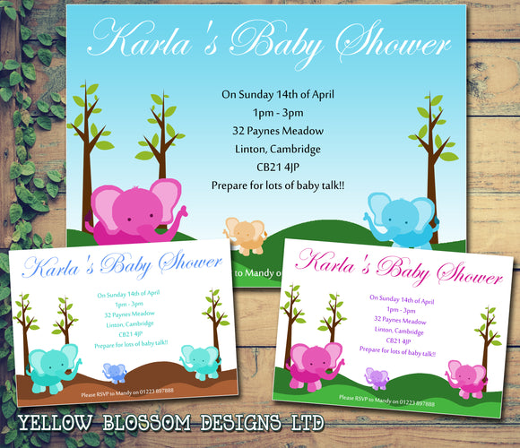 Baby Shower Invitations Boy Girl Unisex Twins Joint Party - Elephants ~ QUANTITY DISCOUNT AVAILABLE - YellowBlossomDesignsLtd