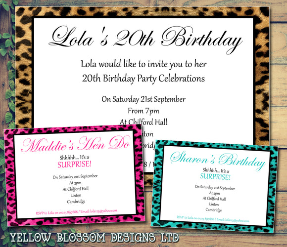 Adult Birthday Invitations Female Male Unisex Joint Party Her Him For Her - Leopard Print ~ QUANTITY DISCOUNT AVAILABLE - YellowBlossomDesignsLtd