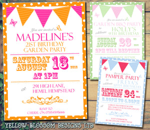 Adult Birthday Invitations Female Male Unisex Joint Party Her Him For Her - Butterflies Bunting ~ QUANTITY DISCOUNT AVAILABLE - YellowBlossomDesignsLtd