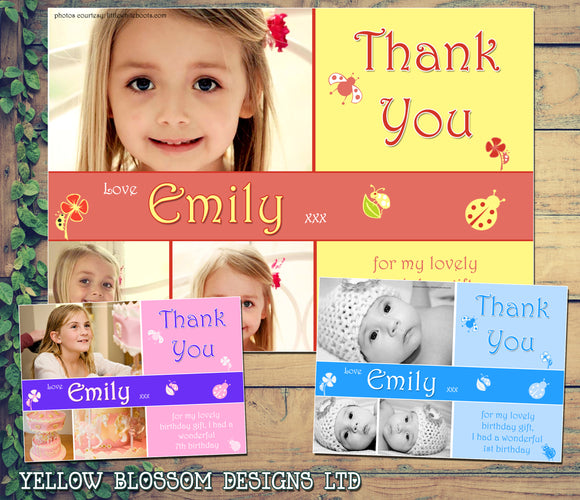 Ladybirds Photo Cute Personalised Birthday Thank You Cards Printed Kids Child Boys Girls Adult ~ QUANTITY DISCOUNT AVAILABLE