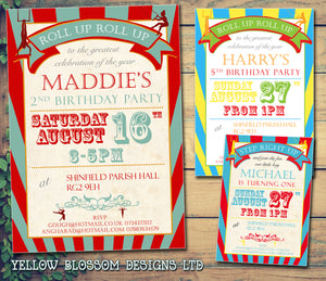 Circus Roll Up Roll Up Invitations - Birthday Invites Boy Girl Joint Party Twins Unisex Printed Children's Kids Child ~ QUANTITY DISCOUNT AVAILABLE - YellowBlossomDesignsLtd