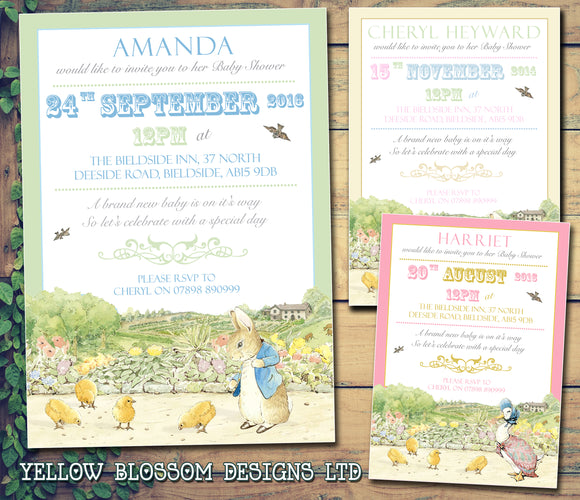 Baby Shower Invitations Boy Girl Unisex Twins Joint Party - Jemima Puddleduck Beatrix Potter Peter Rabbit ~ QUANTITY DISCOUNT AVAILABLE