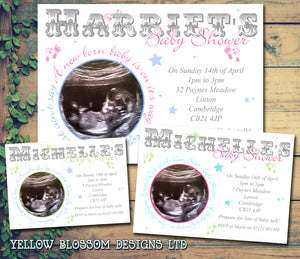 Baby Shower Invitations Boy Girl Unisex Twins Joint Party - Baby Feet Stars Scan Photo Print ~ QUANTITY DISCOUNT AVAILABLE - YellowBlossomDesignsLtd