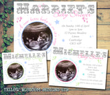 Baby Shower Invitations Boy Girl Unisex Twins Joint Party - Baby Feet Stars Scan Photo Print ~ QUANTITY DISCOUNT AVAILABLE