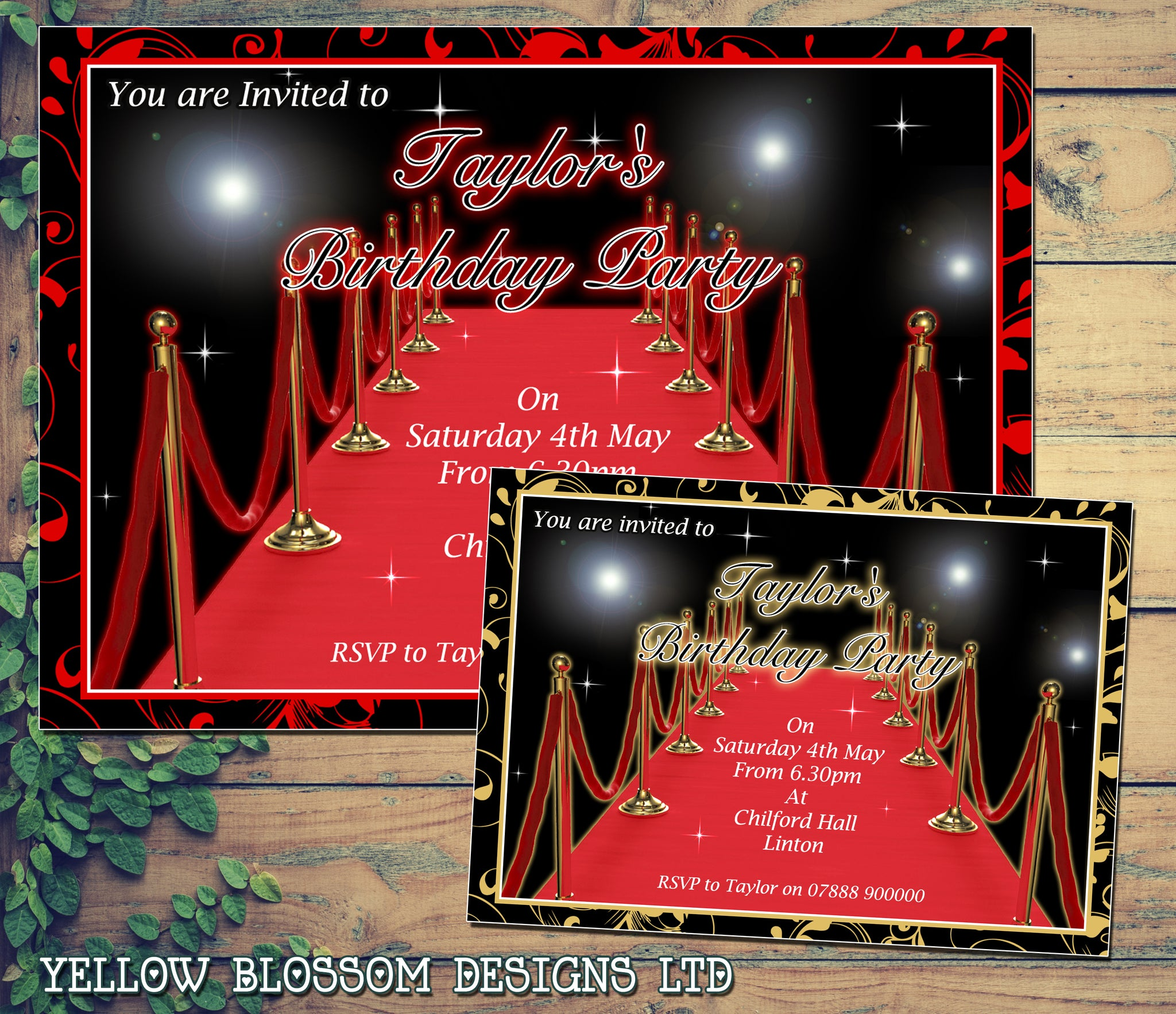 Personalised Birthday Invitations Female Male Unisex Joint Party 18th 21st 30th 40th 50th 60th Oscars Red