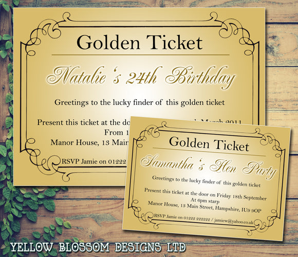 Adult Birthday Invitations Female Male Unisex Joint Party Her Him For Her - Golden Ticket Willy Wonka ~ QUANTITY DISCOUNT AVAILABLE - YellowBlossomDesignsLtd