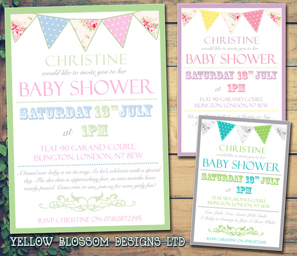 Baby Shower Invitations Boy Girl Unisex Twins Joint Party - Border Bunting Rustic ~ QUANTITY DISCOUNT AVAILABLE - YellowBlossomDesignsLtd