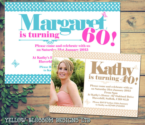 Adult Birthday Invitations Female Male Unisex Joint Party Her Him For Her - Classic Printed Photo Card ~ QUANTITY DISCOUNT AVAILABLE
