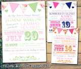 Shabby Chic Bunting Carnival Circus Poster Hen Weekend Itinerary Cards Hen Party Invites Bride To Be ~ QUANTITY DISCOUNT AVAILABLE