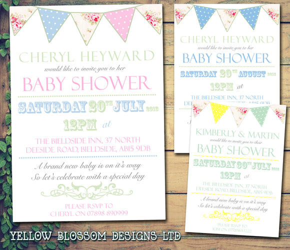 Baby Shower Invitations Boy Girl Unisex Twins Joint Party - Vintage Shabby Chic Bunting Rustic ~ QUANTITY DISCOUNT AVAILABLE - YellowBlossomDesignsLtd