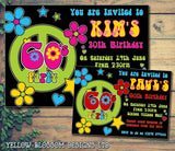 Adult Birthday Invitations Female Male Unisex Joint Party Her Him For Her - 60's Hippie Peace Love ~ QUANTITY DISCOUNT AVAILABLE - YellowBlossomDesignsLtd