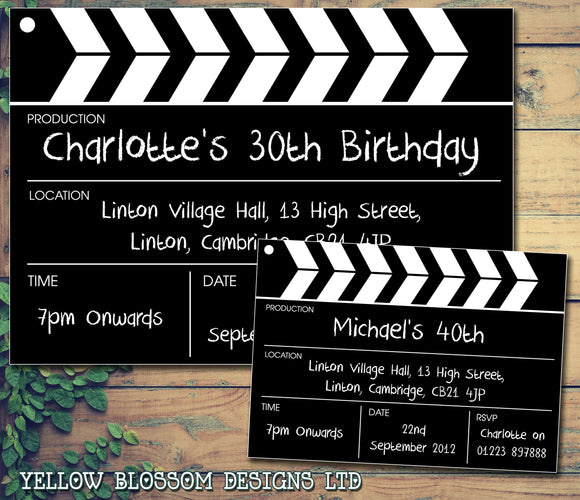 Adult Birthday Invitations Female Male Unisex Joint Party Her Him For Her - Clapper Movie Board ~ QUANTITY DISCOUNT AVAILABLE - YellowBlossomDesignsLtd