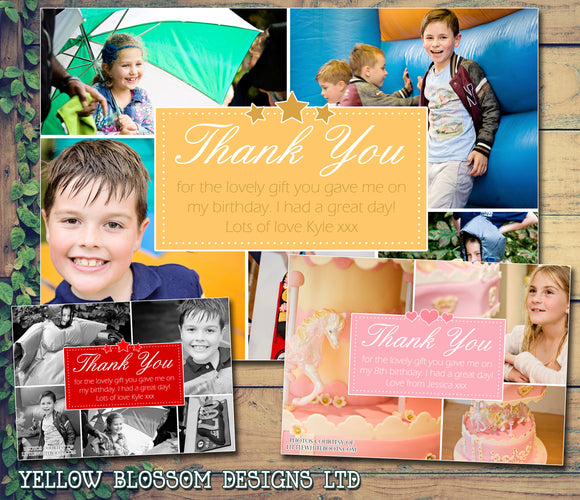 Many Photos Party Personalised Birthday Thank You Cards Printed Kids Child Boys Girls Adult ~ QUANTITY DISCOUNT AVAILABLE