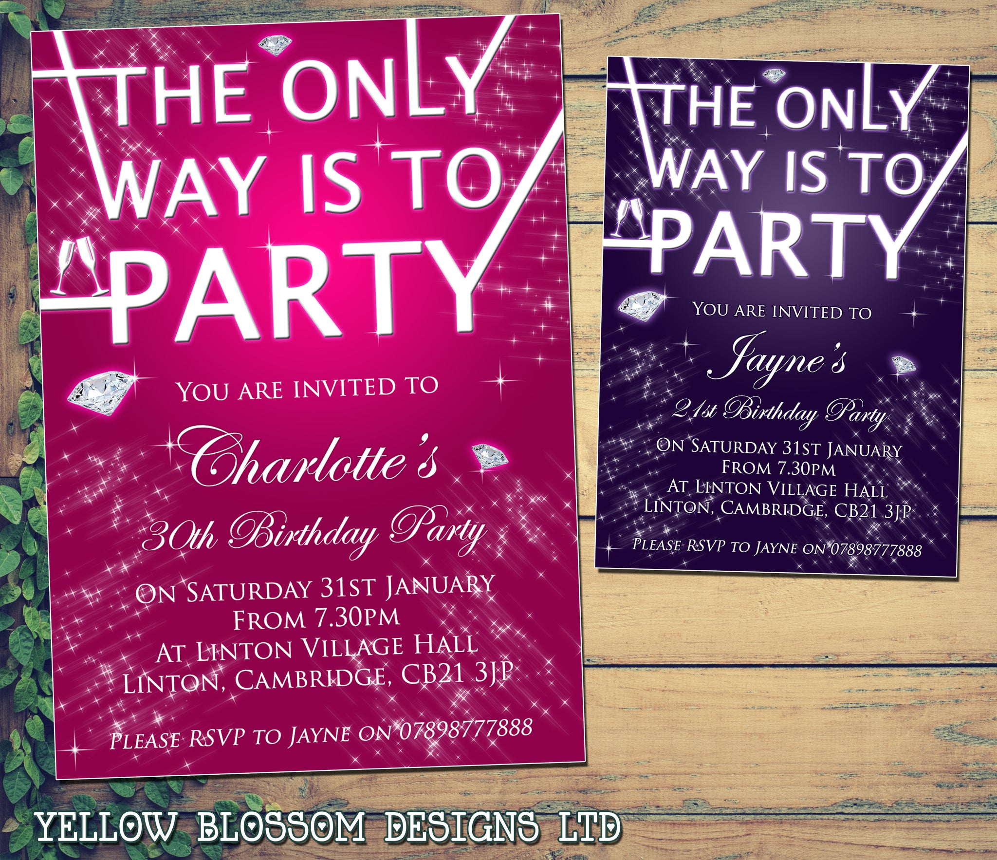 Adult Birthday Invitations Female Male Unisex Joint Party Her Him For
