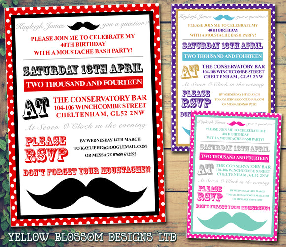 Adult Birthday Invitations Female Male Unisex Joint Party Her Him For Her - Moustache You A Question ~ QUANTITY DISCOUNT AVAILABLE - YellowBlossomDesignsLtd