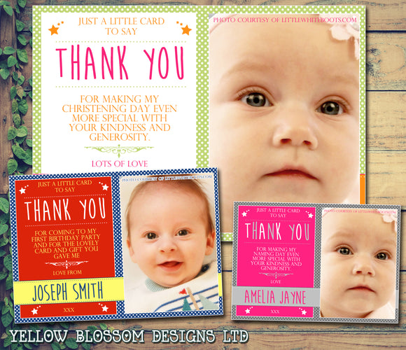Funky Joint Boy Girl Twins Photo Personalised Thank You Cards Christening Baptism Naming Day Party Celebrations ~ QUANTITY DISCOUNT AVAILABLE