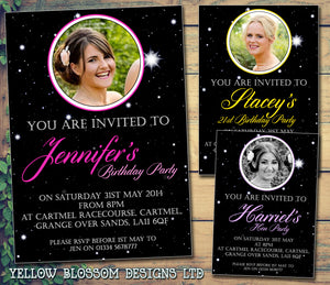 Adult Birthday Invitations Female Male Unisex Joint Party Her Him For Her - Stars Night Sky Girlie ~ QUANTITY DISCOUNT AVAILABLE