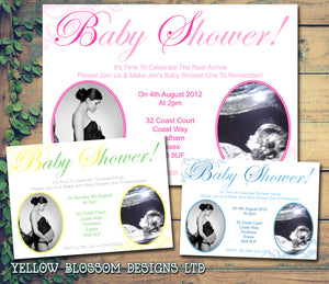 Baby Shower Invitations Boy Girl Unisex Twins Joint Party - Ultrasound Photo Print ~ QUANTITY DISCOUNT AVAILABLE - YellowBlossomDesignsLtd
