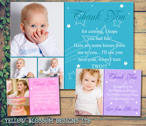 Half Photo Shooting Star Personalised Birthday Thank You Cards Printed Kids Child Boys Girls Adult ~ QUANTITY DISCOUNT AVAILABLE