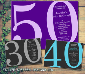 Adult Birthday Invitations Female Male Unisex Joint Party Her Him For Her - 30th 50th 60th 70th 80th Grey Green Black Pink Blue ~ QUANTITY DISCOUNT AVAILABLE - YellowBlossomDesignsLtd