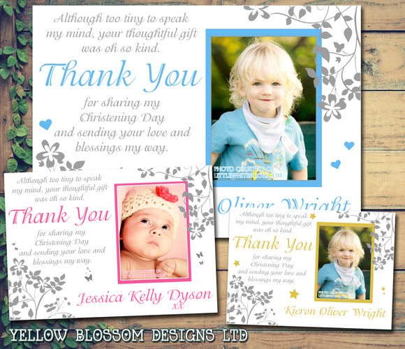 Elegant Joint Boy Girl Twins Photo Personalised Thank You Cards Christening Baptism Naming Day Party Celebrations ~ QUANTITY DISCOUNT AVAILABLE