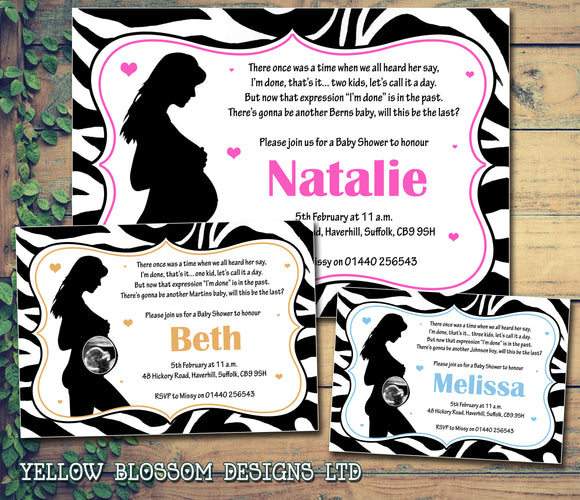 Baby Shower Invitations Boy Girl Unisex Twins Joint Party - Zebra Print ~ QUANTITY DISCOUNT AVAILABLE - YellowBlossomDesignsLtd