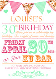 Adult Birthday Invitations Female Male Unisex Joint Party Her Him For Her - Poster Carnival Bright Colours ~ QUANTITY DISCOUNT AVAILABLE - YellowBlossomDesignsLtd