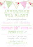 Shabby Chic Afternoon Tea Party Invitations - Boys Girls Joint Birthday Party Invites Twins Unisex Printed ~ QUANTITY DISCOUNT AVAILABLE